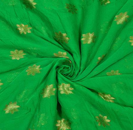 Green Golden Flower Chiffon Nazmin Fabric-41161