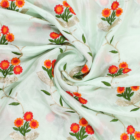 Green Golden Flower Embroidery Chinon Fabric-35010