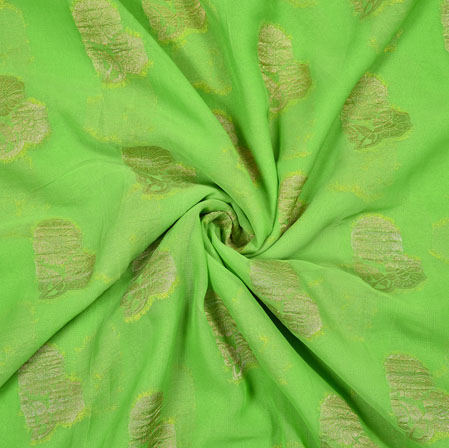 Green Golden Flower Georgette Viscose Boota Fabric-41146
