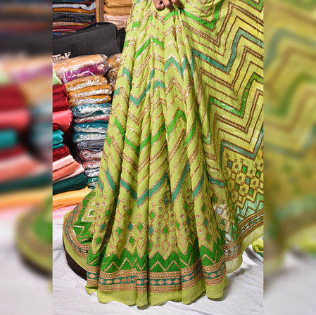 Green Golden Gota Position Georgette Embroidery Fabric-19131