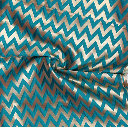Green Golden Ikat Banarasi Silk Fabric-9393