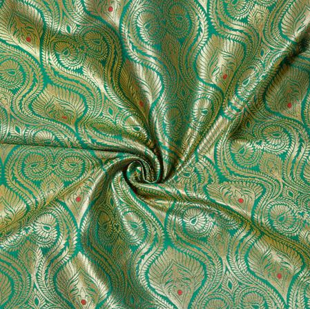 Green Golden Kinkhab Banarasi Brocade Silk Fabric-12733