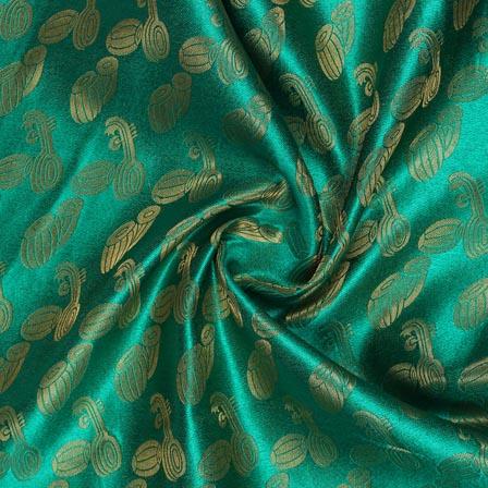 Green Golden Music Instrument Brocade Silk Fabric-9348