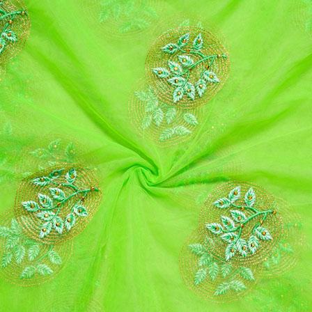 Green Golden Net Embroidery Silk Fabric-18735