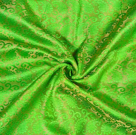 Green Golden Paisley Brocade Silk Fabric-12895