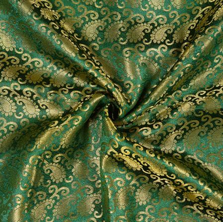 Green Golden Paisley Brocade Silk Fabric-12906