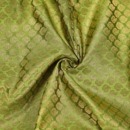 Green Golden Paisley Chanderi Zari Silk Fabric-12086