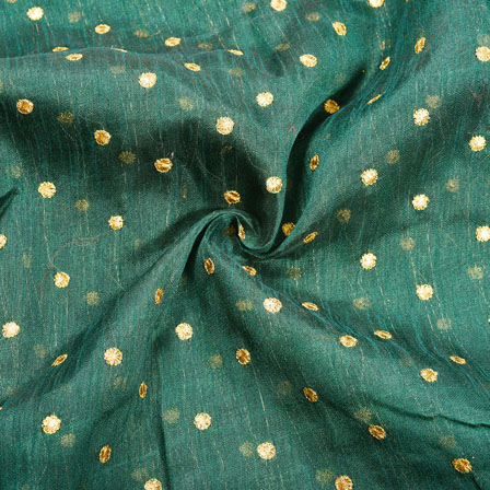 Green Golden Polka Banglori Silk Fabric-12349
