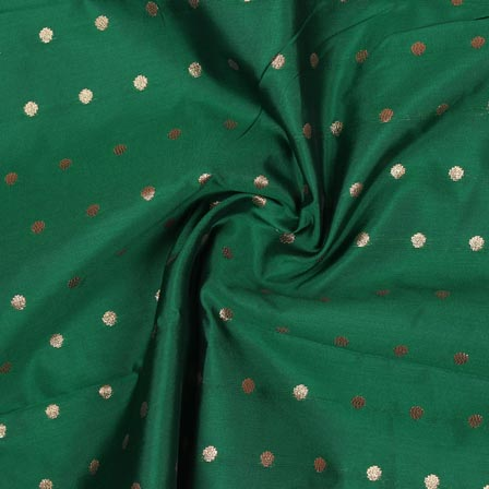 Green Golden Polka Brocade Silk Fabric-9351