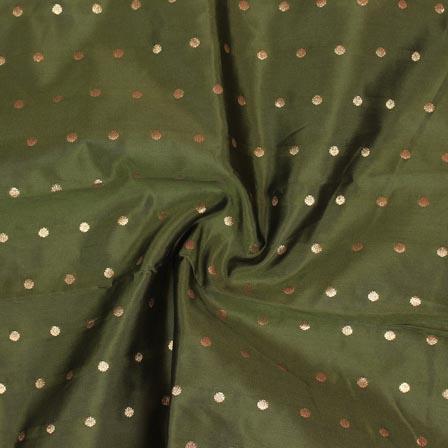 Green Golden Polka Brocade Silk Fabric-9352