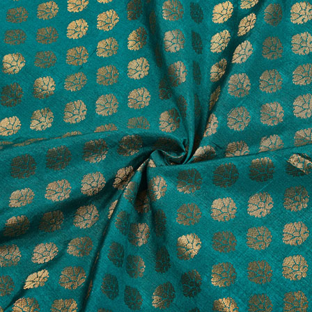 Green Golden Polka Chanderi Zari Silk Fabric-12231