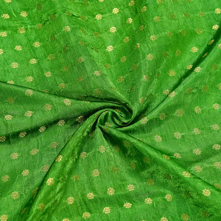 Green Golden Polka Satin Brocade Silk Fabric-12348