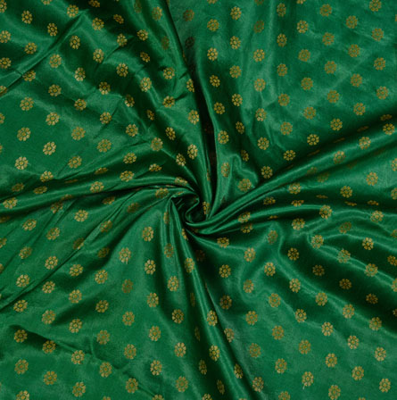 Green Golden Polka Satin Brocade Silk Fabric-12676