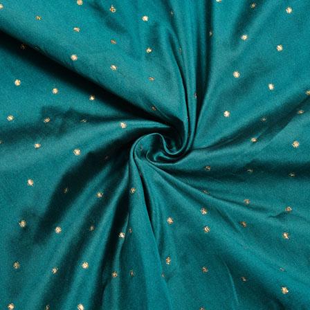 Green Golden Polka Zari Taffeta Silk Fabric-12283