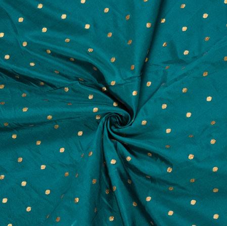Green Golden Polka Zari Taffeta Silk Fabric-12639