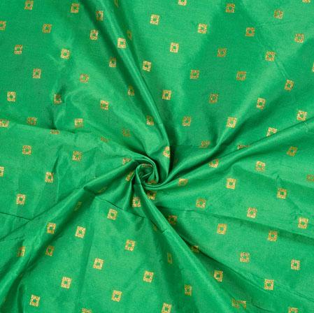 Green Golden Polka Zari Taffeta Silk Fabric-12640