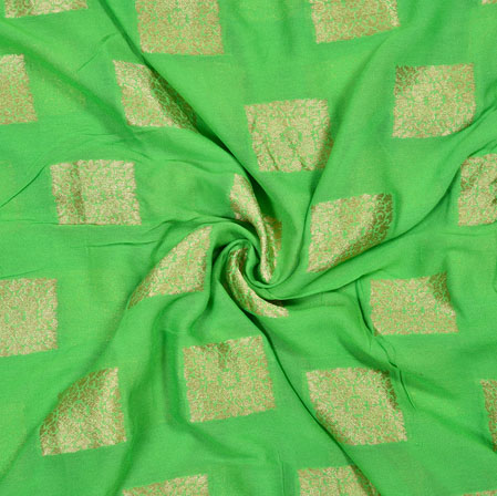Green Golden Square Georgette Viscose Boota Fabric-41151