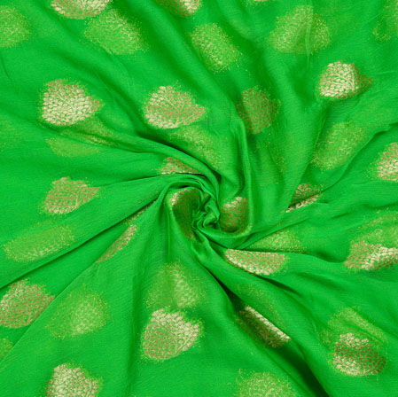 Green Golden Tree Chiffon Nazmin Fabric-41158
