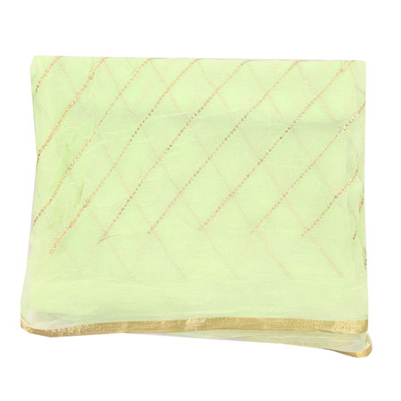 Green Golden Zari Chiffon Fabric-29260