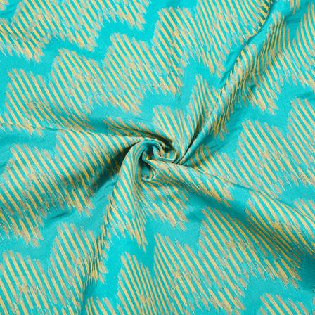 Green Golden Zig-Zag Jaquard SIlk Fabric-12532