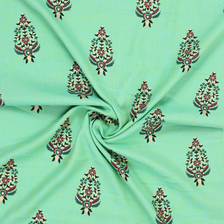 Green-Golden and Brown Floral Cotton Jam Silk Fabric-75172