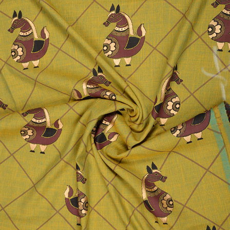 Green-Golden and Brown Rayon Slub Fabric-75088