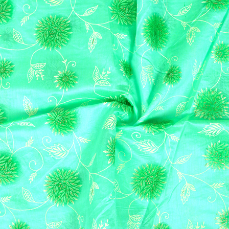 Green-Silver and Cream Flower Pattern Chanderi Silk Fabric-9013
