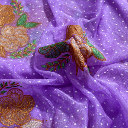 Green-Golden and Light Violet Flower Shape Lycra Fabric-6553