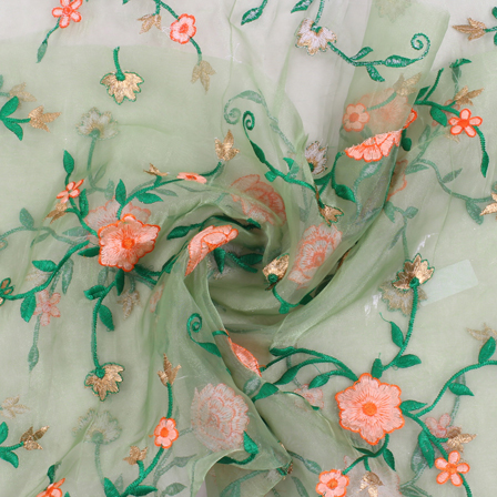 Green-Golden and Orange Flower Organza Embroidery Fabric-51431