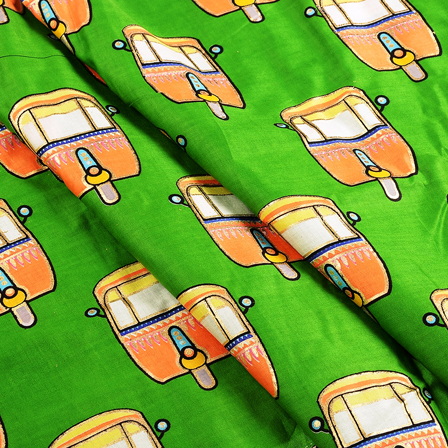 Green-Golden and Orange Jam Cotton Silk Fabric-75127