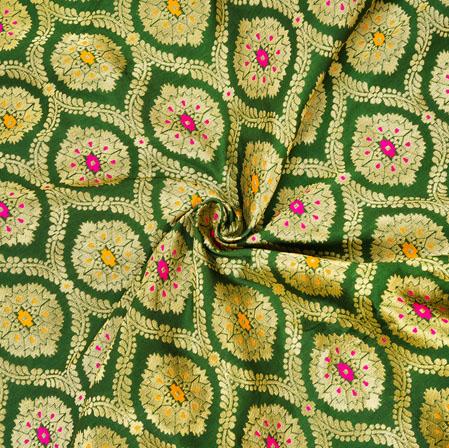 Green Golden and Pink Floral Banarasi Silk Fabric-12553