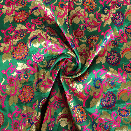 Green Golden and Pink Floral Banarasi Silk Fabric-9435