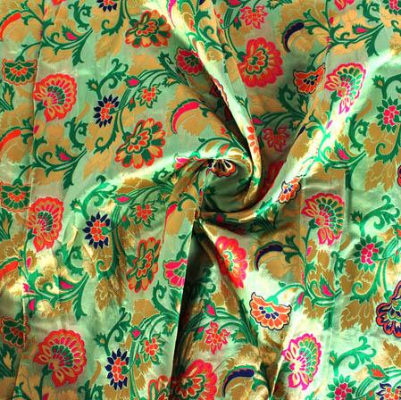 Green Golden and Pink Floral Banarasi Silk Fabric-9438