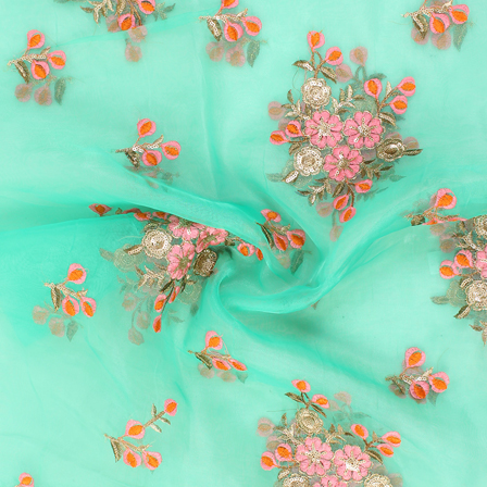 Green-Golden and Pink Floral Design Embroidery  Silk Organza Fabric-50041