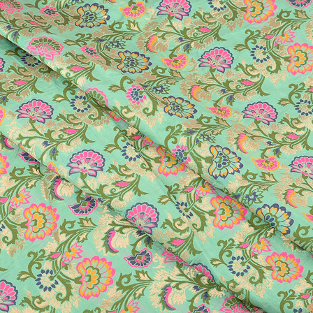 Green-Golden and Pink Floral Digital Brocade Fabric-24075