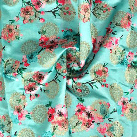 Green-Golden and Pink Flower Design Digital Banarasi Silk Fabric-24040