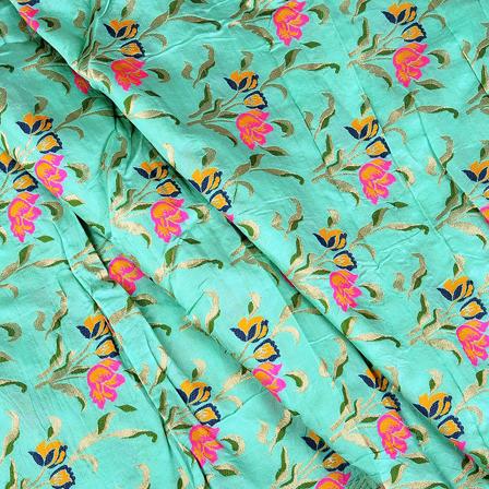 Green-Golden and Pink Flower Digital Brocade Fabric-24091