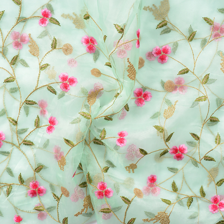 Green-Golden and Pink Flower Embroidery Organza Fabric-51054