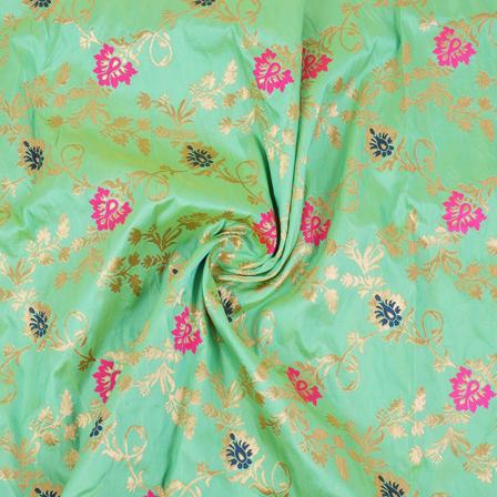 Green-Golden and Pink Flower Tow Tone Banarasi Silk Fabric-8454