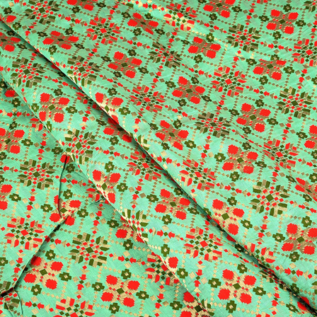 Green-Golden and Red Digital Brocade Fabric-24085