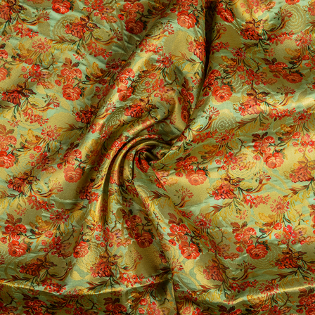 Green-Golden and Red Floral Digital Brocade Fabric-24105
