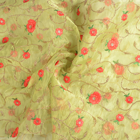 Green-Golden and Red Floral Organza Embroidery Fabric-51160
