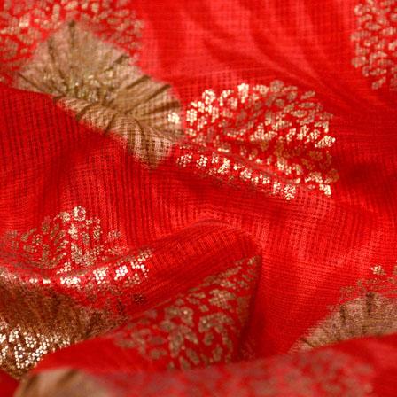 Green-Golden and Red Flower Shape Kota Doria Fabric-6044