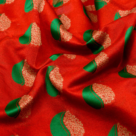 Green-Golden and Red leaf Pattern Brocade Silk Fabric-5327