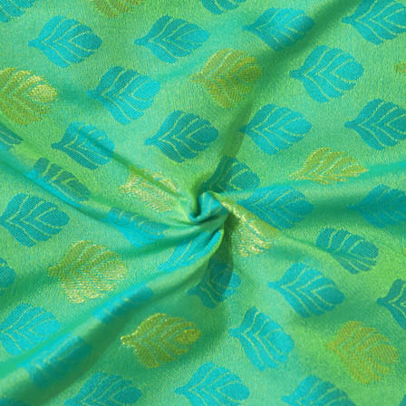 Green-Golden and Sky Blue Leaf Design Brocade Silk Fabric-8007