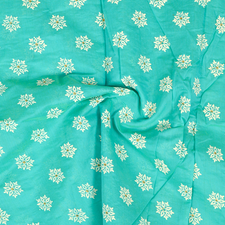 Green-Silver and White Floral Design Chanderi Silk Fabric-9019