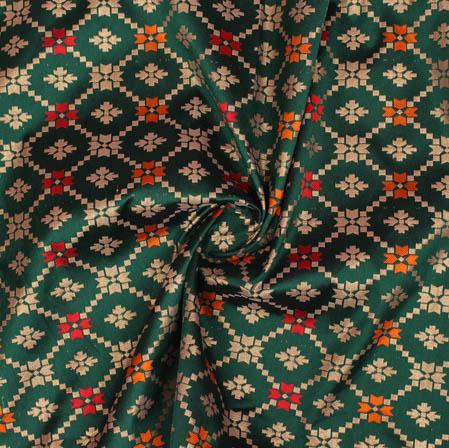 Green Golden and Yellow Leaf Brocade Silk Fabric-9366