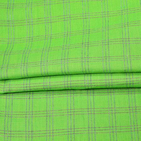 Green Gray Checks Handloom Fabric-42001