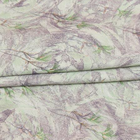Green Gray Floral Print Jam Cotton Silk Fabric-15298