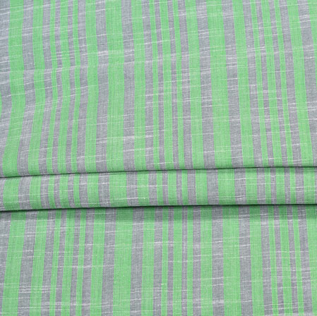 Green Gray Stripe Handloom Fabric-42034